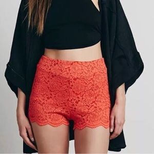 NWT Free People DragonFruit Lace High Waist Shorts